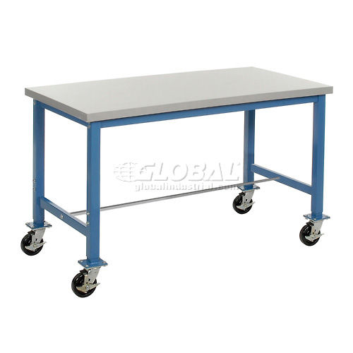 60 x 24 Plastic Square Edge Packaging Bench with Caster Kit by