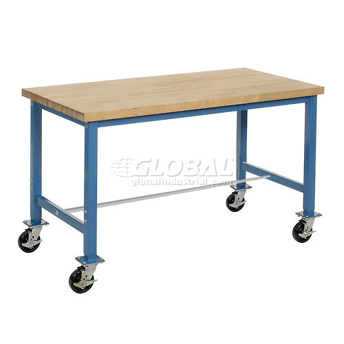 "60""W x 30""D Mobile Packaging Workbench Maple Butcher Block Safety Edge Blue by"