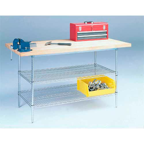 "60"" W x 30"" D Wire Stationary Workbench, Maple Butcher Block Square Edge by"