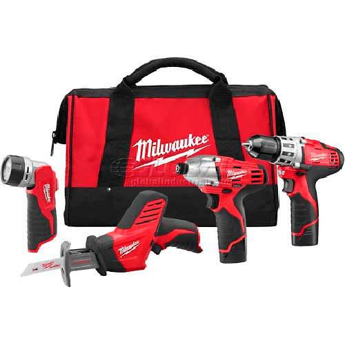 Milwaukee 2498-24 M12 Cordless 4-Tool Combo Kit by