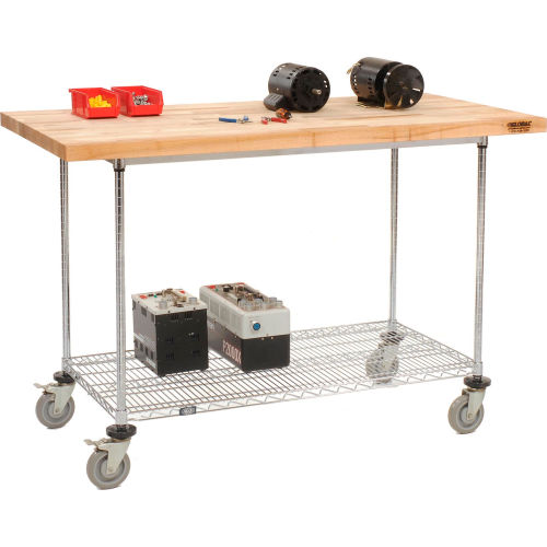 "60""W x 30""D Mobile Workbench with Wire Rack Maple Butcher Block Square Edge  by"