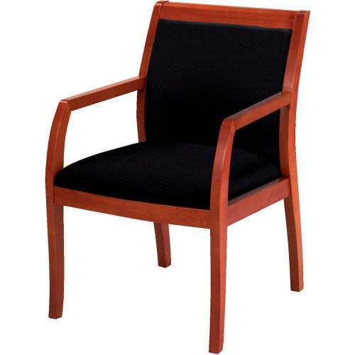 Classic Wood Guest Chair Full Back, Black Fabric, Medium Cherry Finish by