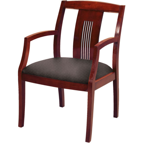 Classic Wood Guest Chair Slat Back, Black Fabric, Dark Cherry Finish by