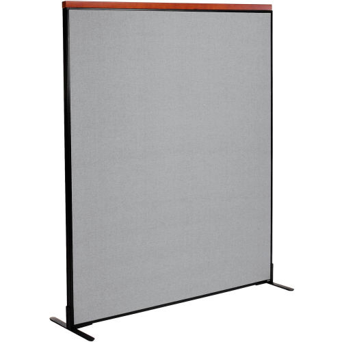 "Deluxe Freestanding Office Partition Panel, 60-1/4""W x 73-1/2""H, Gray by"