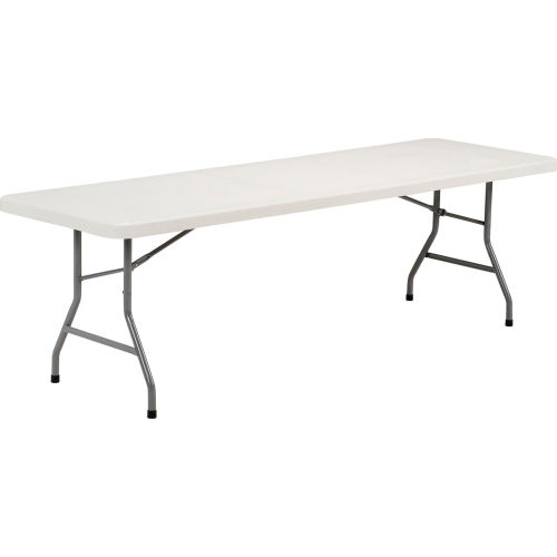 Interion 8 foot plastic folding table pkg qty 10 ebay for 10 foot banquet table