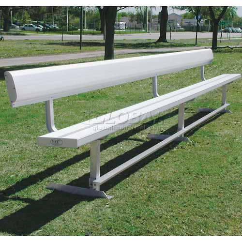 15' Aluminum Park Bench With Back, Portable and/or Surface Mount by