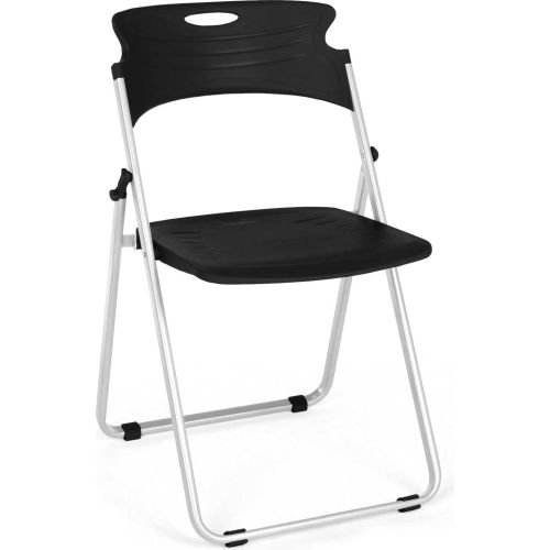 OFM Plastic Folding Chairs Black Package Count 4 by