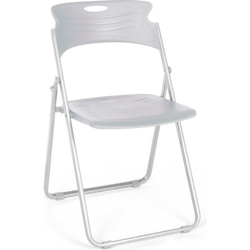 OFM Plastic Folding Chairs Dove Gray Package Count 4 by