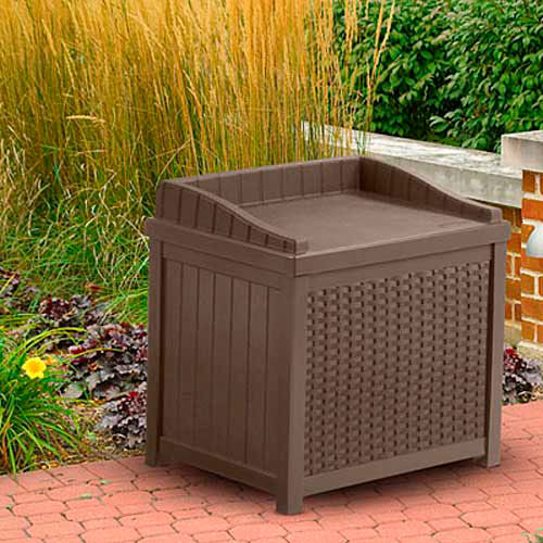 Superbe Bins, Totes U0026 Containers | Containers Deck Boxes | Suncast Resin Wicker  Storage Seat Deck Box, 22 Gallon, Java | 270093   GlobalIndustrial.com