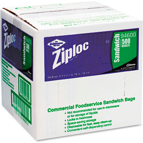 """ZIPLOC Resealable Sandwich Bags 6-1/2"""" x 6"""" 1.2 Mil Clear 500 Pack by"""