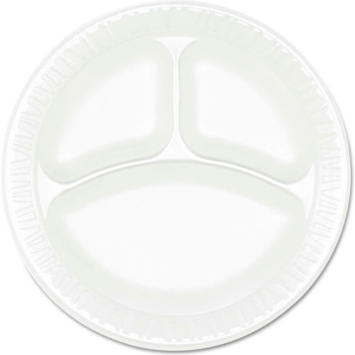 "Dart 9CPWCR, 3-Comp Foam Plate, 9"" Dia., White, 500/Carton by"