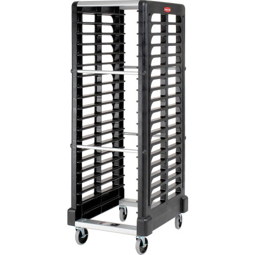 Rubbermaid 3320 End-Load Black Plastic Tray Truck by
