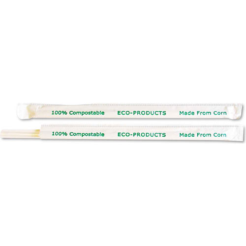 "Eco-Products PLA Straws, 7 3/4"", Corn Plastic, Translucent, 9600/Carton by"