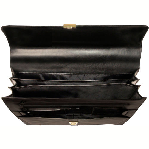"""Bond Street 367061 Leather Executive Briefcase, 15.6"""" Computer Case, Black by"""