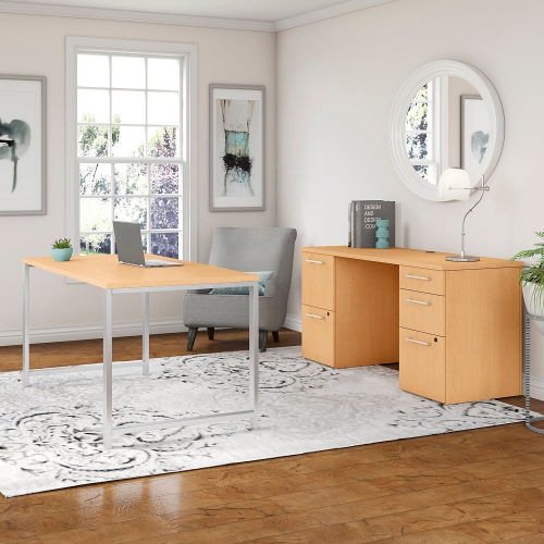 """Bush Furniture 60""""W Table Desk with Credenza and File Drawers Natural Maple 400 Series by"""