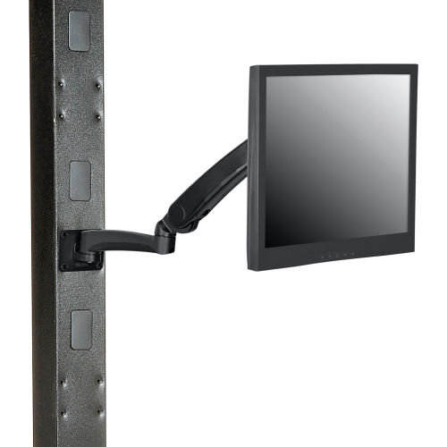 Global Industrial Gas Spring LED/LCD Flat Panel Monitor Arm with VESA Plate, Black by