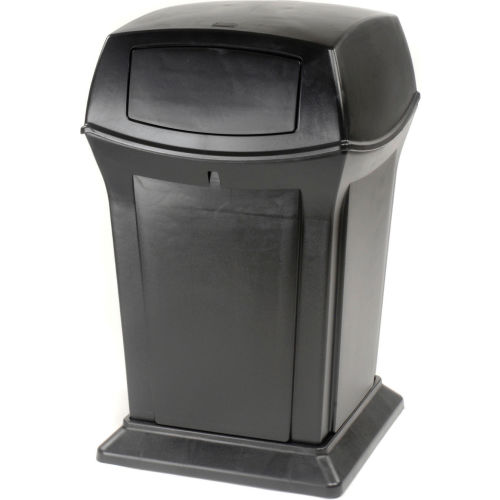 Door Trash Can 45 Gallon, Rubbermaid Outdoor Trash Can With Lid