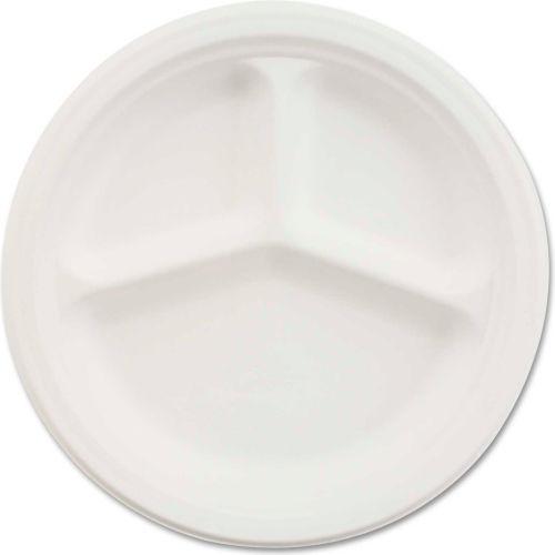 """Chinet HUHVISTA, 3-Comp. Classic Paper Plates, 9 1/4"""" Dia., White, 500/Carton by"""