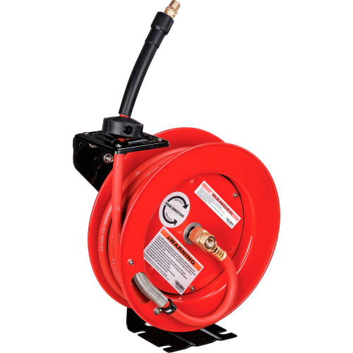 """Global Industrial 3/8""""x 25' 300 PSI Spring Retractable Steel Hose Reel (With Hose) by"""