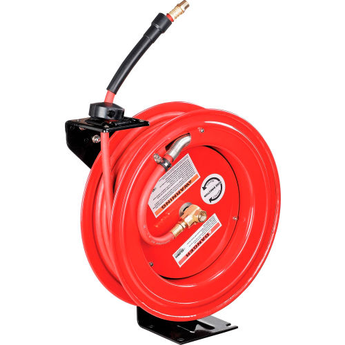 """Global Industrial 3/8""""x 50' 300 PSI Spring Retractable Steel Hose Reel (With Hose) by"""
