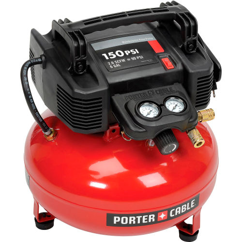 Porter Cable C2002-WK, 0.8 HP, Hand Carry, 6 Gallon, Pancake, 150 PSI, 2.6 CFM, 1-Phase 120V by