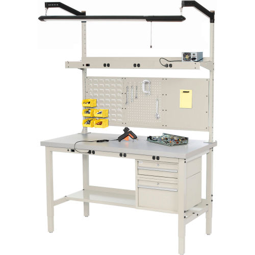 Pleasant Work Bench With Electric Adjustable Height 96Quotw X Andrewgaddart Wooden Chair Designs For Living Room Andrewgaddartcom
