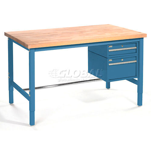 "60""W x 30""D Packaging Workbench Maple Butcher Block Square Edge Blue by"