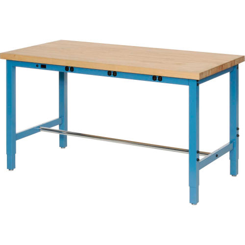 """60""""W x 24""""D Production Workbench with Power Apron Maple Butcher Block Square... by"""