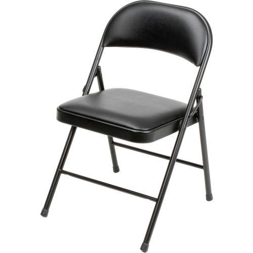Padded Vinyl Folding Chair Black Package Quantity 4