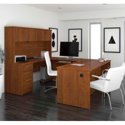 Desks   Office Collections   Bestaru0026#174; U Shaped Desk   71u0026quot;    Tuscany Brown   Embassy Series   B2220984   GlobalIndustrial.com