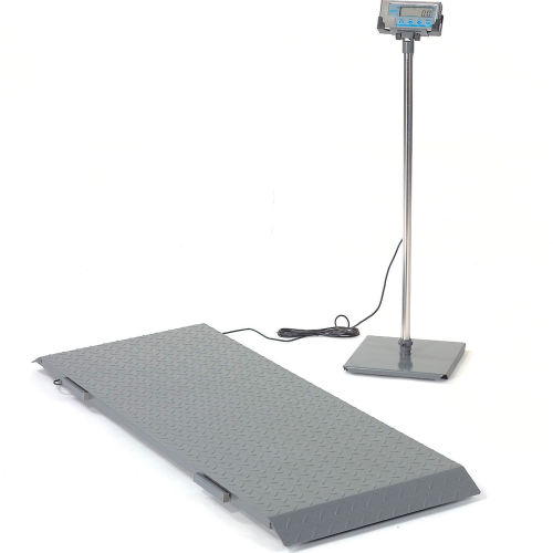 "Brecknell PS1000 Digital Floor Scale w/ Indicator Stand 1000lb x 0.5lb 55-3/4"" x 20-1/4"" by"