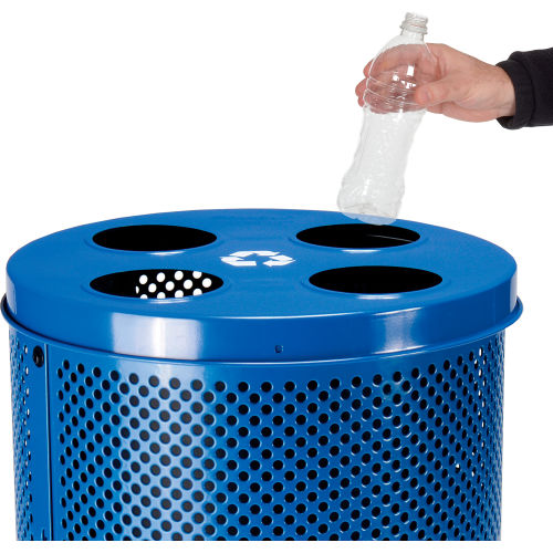 Blue 32 Gallon Global Industrial Thermoplastic Coated Perforated Receptacle w//Flat Lid