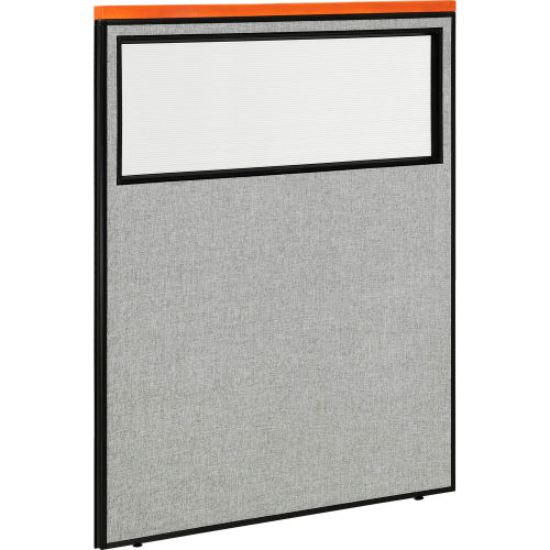 "Deluxe Office Partition Panel with Partial Window, 48-1/4""W x 61-1/2""H, Gray by"