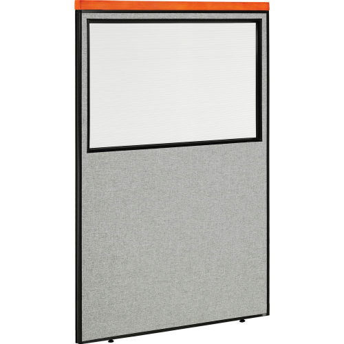 "Deluxe Office Partition Panel with Partial Window, 48-1/4""W x 73-1/2""H, Gray by"