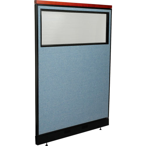 "Deluxe Office Partition Panel with Partial Window & Pass-Thru Cable, 48-1/4""W x 65-1/2""H, Blue by"