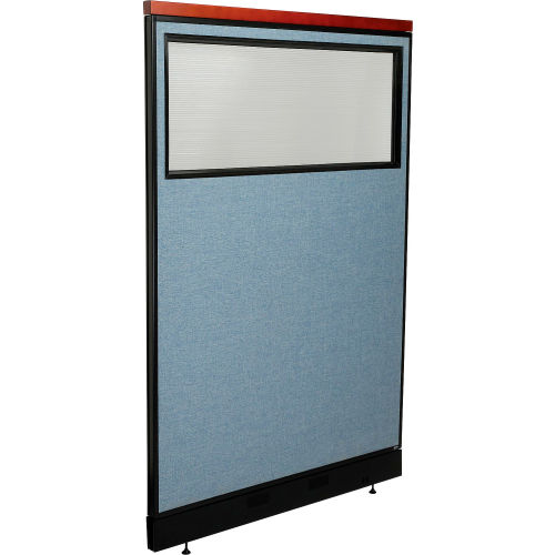 "Deluxe Office Partition Panel with Partial Window & Pass-Thru Cable, 48-1/4""W x 77-1/2""H, Blue by"