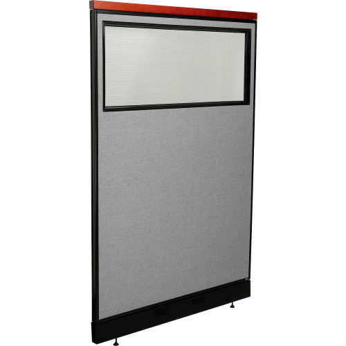 "Deluxe Office Partition Panel with Partial Window & Pass-Thru Cable, 48-1/4""W x 77-1/2""H, Gray by"