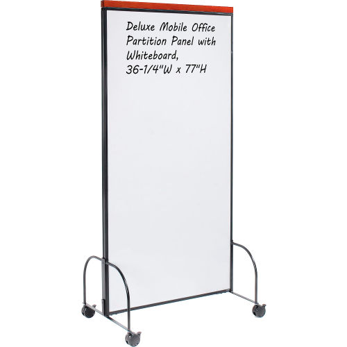 "Deluxe Mobile Office Partition Panel with Double-sided Whiteboard, 36-1/4""W x 77""H  by"