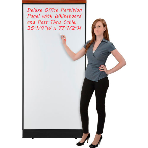 "Deluxe Office Partition Panel with Whiteboard and Pass-Thru Cable, 36-1/4""W x 77-1/2""H by"