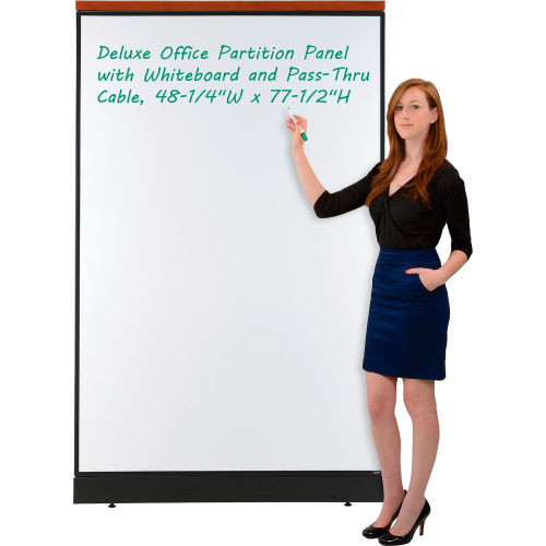 "Deluxe Office Partition Panel with Whiteboard and Pass-Thru Cable, 48-1/4""W x 77-1/2""H by"