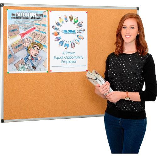 Cork Bulletin Board 48 x 36 Aluminum Frame by