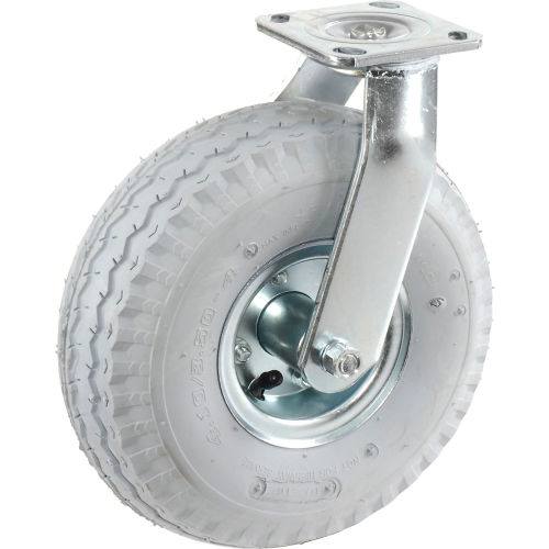 "Swivel Plate Caster 10"" Full Pneumatic Wheel 330 Lb. Capacity  by"