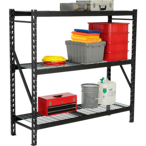 """Edsal Heavy Duty Storage Rack with Wire Decking Black 77""""W x 24""""D x 72""""H by"""