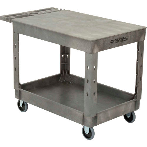 "Industrial Strength Plastic 2 Flat Shelf Service & Utility Cart, 44"" x 25-1/2"", 5"" Rubber Caste"