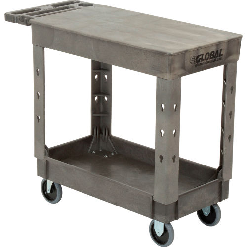 "Industrial Strength Plastic 2 Flat Shelf Service & Utility Cart, 38"" x... by"