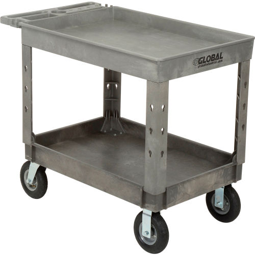 "Industrial Strength Plastic 2 Tray Shelf Service & Utility Cart, 44"" x... by"