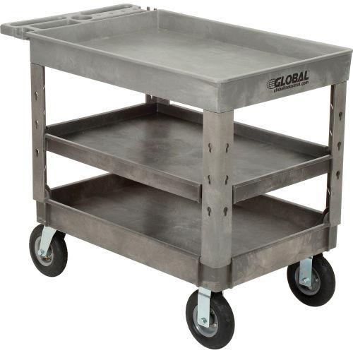 "Industrial Strength Plastic 3 Tray Shelf Service & Utility Cart, 44"" x 25-1/2"", 8"" Pneumatic whls"