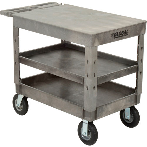 "Industrial Strength Plastic 3 Flat Shelf Service & Utility Cart, 44"" x... by"