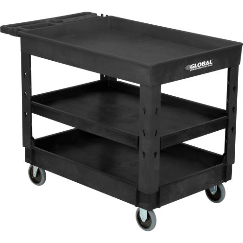 Global Industrial Tray Top Plastic Utility Cart 3 Shelf 44 Lx25 1 2 W 5 Casters Black 800341 Globalindustrial Com
