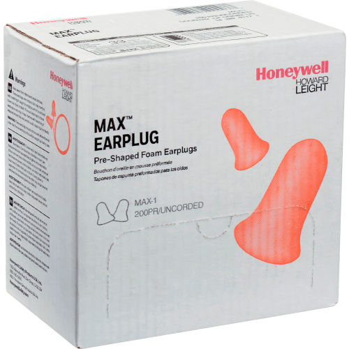 Howard Leight™ MAX-1 MAX® Ear Plugs, Disposable, NRR 33, Uncorded, 200 Pairs/Box